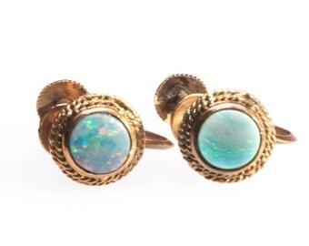 Vintage Australian Opal 14K Gold Earrings Screw Back