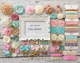 DIY Baby Headband Making Kit   Baby Shower   Aqua, Ivory, Gold, Pink