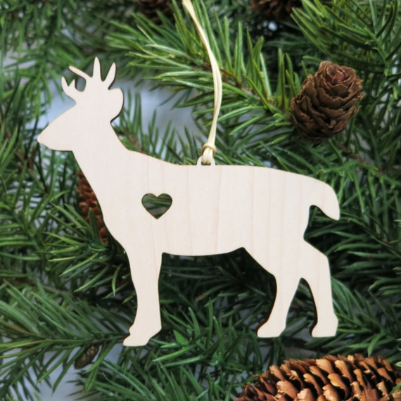 Deer Christmas Ornament // Wooden Holiday Decor // Deer With Heart // Xmas Tree Ornament // Trim a Tree // Hostess Gift // DIY Ornament Gift