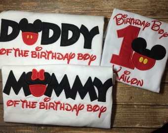Boys mickey mouse birthday with matching parent shirts