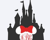 Cinderella Castle Minnie or Mickey iron on decal monogram with name or initials