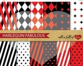 50% Off Harley quinn Red Black Papers Digital Paper Pack Scrapbook Harlequin Patterns Mardi Gras Digital Backgrounds harley Quinn Paper
