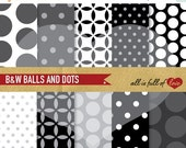 80% off Digital SCRAPBOOKING Background Paper Pack Black And White polka dots Printable Pattern 12/15