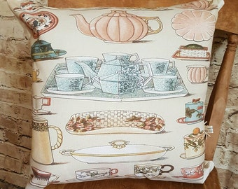 FREE UK POSTAGE Handmade Vintage Afternoon Tea Inspired Square Cushion With Or Without Inner