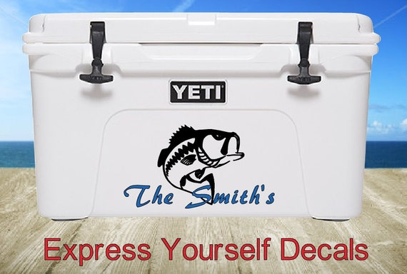 Yeti cooler bass fish personalized decal for Fishing yeti decal