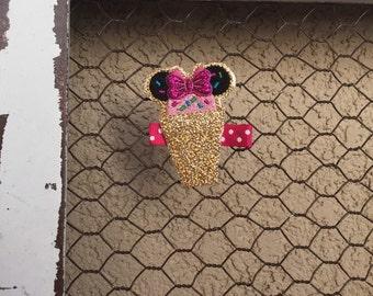 Adorable Minnie Mouse Bow polka dot bow clip MINNIE mouse clip minnie clip disney