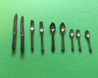 Dolll House Silverware - Miniature Silverware - Forks, Spoons and Knives