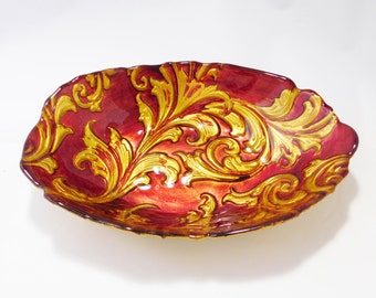 Red and Gold Leaf Dish
