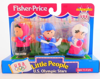Fisher Price Little People, U.S. Olympic Stars, Limited Edition, Mattel, Down Hill Skier, Speed Skater and a Hockey Player
