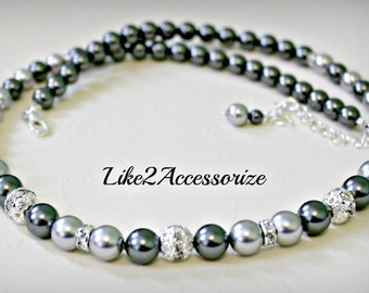 Bridesmaid Necklace Swarovski Pearl Silver Grey White Ivory Bridal Necklace Wedding Jewelry Wedding Necklace Earring Set Maid of Honor Gift