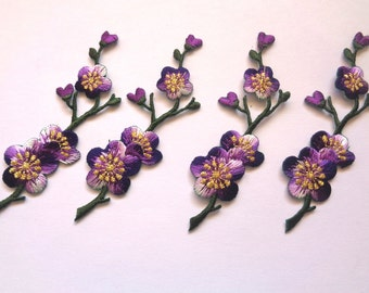 Cherry Blossom Branch Embroidered Iron - On Applique, Multi / Purple, x 4, For Romantic & Victorian Crafts