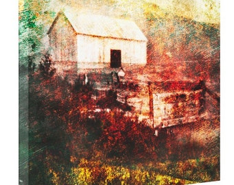 Abstract Stretched Canvas Photo Print Titled - Old Family BArn