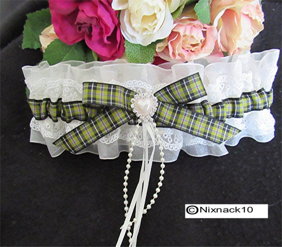 WEDDING GARTER IVORY Cornish Tartan Pearls Bow Diamante
