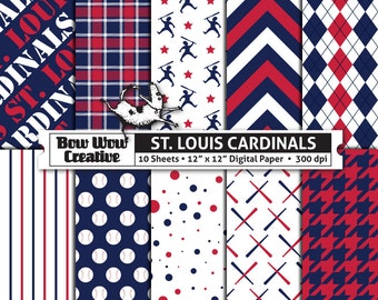 10 St. Louis Cardinals Digital Papers for Scrapbooking, Digital Paper, Digital Scrapbook Paper, Printable Sheets, Baseball, Patterns