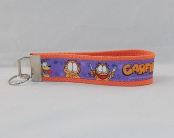 Keychain Wristlet Made With Garfield Inspired Ribbon