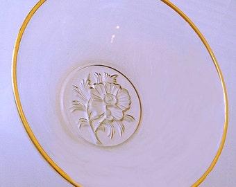 Vintage Glass Rose Bowl, clear glass bowl gold rim, large fruit bowl, glass salad bowl, pasta serving dish, formal dinnerware large bowl