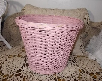 Shabby Cottage Chic Waste Basket/ Storage Basket/ Not included in Coupon Discount Sale / New Listing