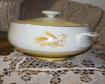 Vintage Yellow Gold and White Wheat Pattern Casserole Covered  Round Dish :)