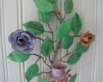 Vintage Tole Candle Holder, Candle Sconce, With Roses, Cottage Wall Decor