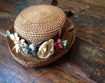 Childs Antique Straw Hat Velvet Ribbon Bow Flowers