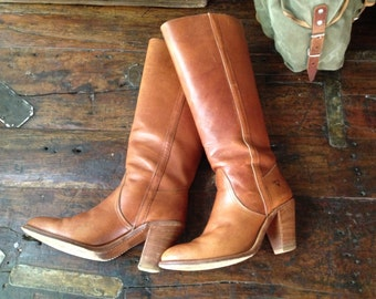 Vintage USA Frye Knee High Campus Riding Boots ~ Cognac ~ Size 7 - 7.5 US ~ Heels