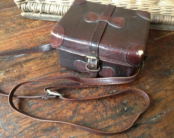 Brown Leather Camera Bag Case Box Purse Handbag Satchel Hidesign