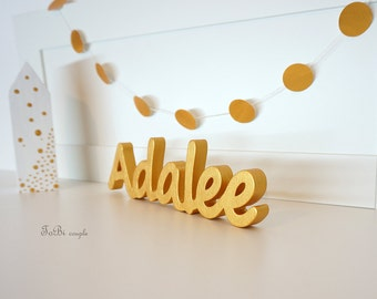 Gold Wooden letters, children's shelf decor
