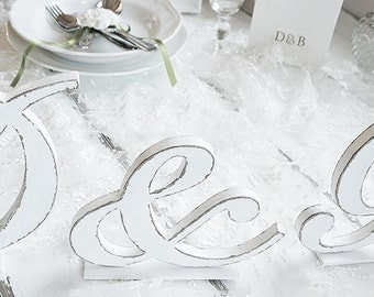 Shabb chic Initials with ampersand - Wedding letters - Wedding decor - Personalized
