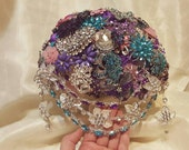 RESERVED for Walleska BALANCE on Brooch Bouquet Silver Purple Pink Turquoise Crystal Wedding Package Bridesmaid Bouqet Groom Boutonniere