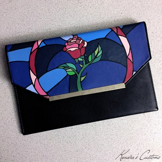 Hand Painted Pop Art Princess Mosaic Rose Inspired From Beauty and The Beast Clutch Synthetic Leather Vegan Handbag Purse Bag