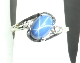 Art Deco 10K White Gold Blue Star Sapphire and Diamond Accent Ring Size 5.5