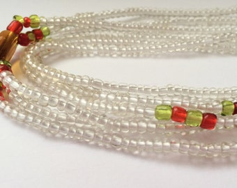 Orange, Green with Clear Beads African Waist Bead (3 combined in 1) *per one strand*