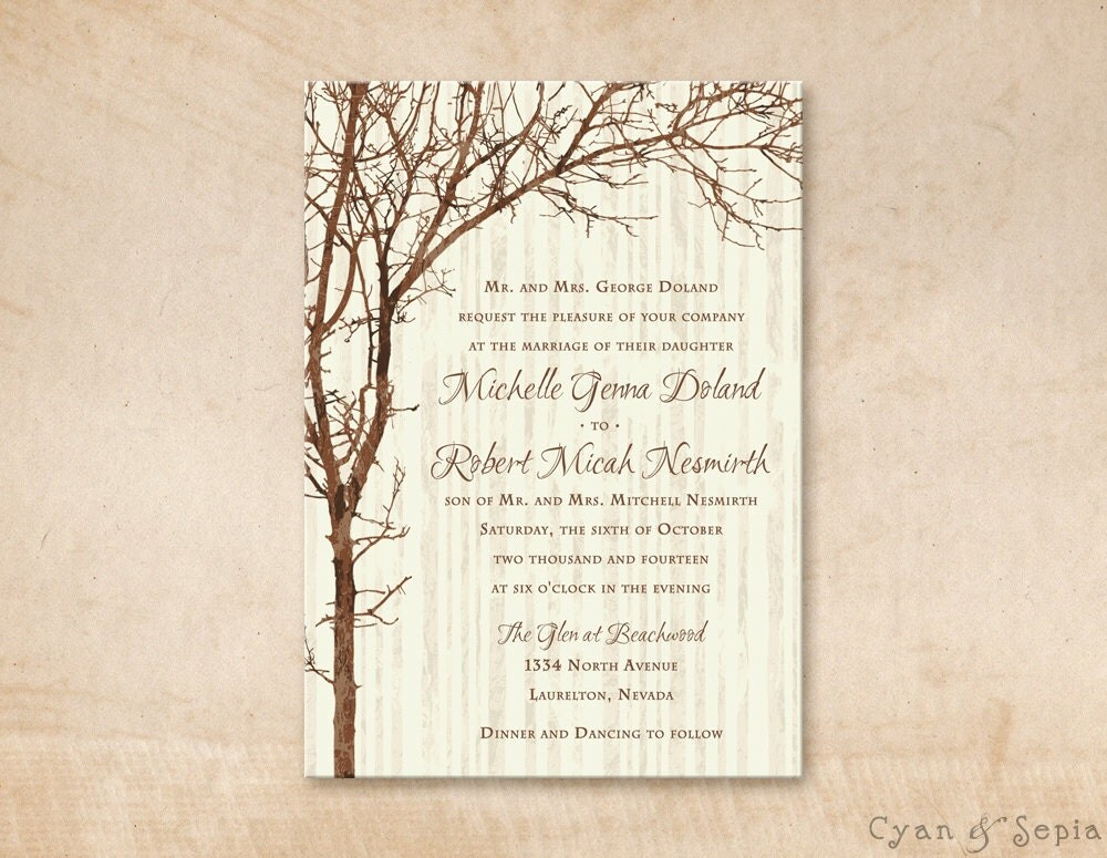 Printable wedding invitation 5x7 tree and branches for Free printable tree wedding invitations