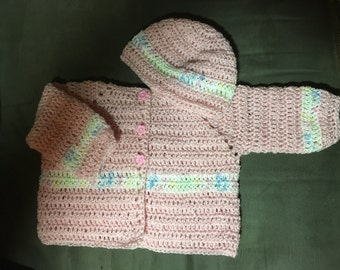 baby pink with multi color stripe sweater and hat set , size 0-3 month, pink flower buttons (BRCL)