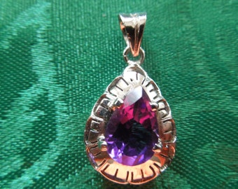 Vintage Pendant,  Small, Silver Toned with Purple Stone, Nice Condition