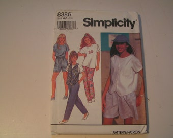 Vintage Simplicity 8386 Girl Pants or Shorts T Shirt and Lined Vest