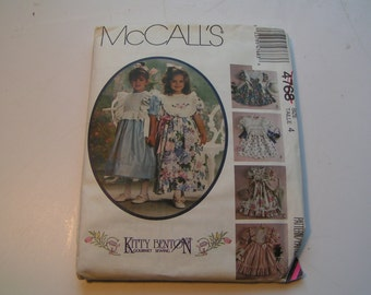Vintage McCalls Pattern 4768 Child and Girl Dress and Detachable PinaFore Bibs Kitty Benton Gourmet Sewing