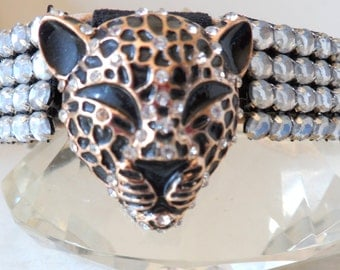 Couture dog collar. Posing Panther.Diamante, gold and black leopard head center, with diamante surround. OOAK
