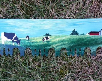 Hand Painted Two Man Saw with Farm Scene