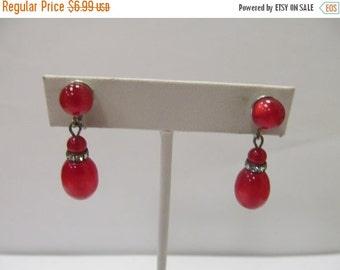 ON SALE Vintage Red Moonbeam Lucite and Rhinestone Dangle Earrings Item K # 3148