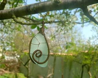 Genuine sea glass, aqua sea foam, brown copper wire, wire wrapped pendant, Birthday gift, sea glass pendant, sea glass jewelry, sea stone
