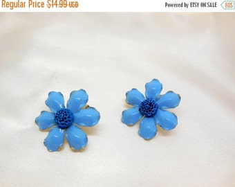 Biggest Sale Ever Vintage Metal Flower Earrings Blue and Gold Clip on