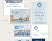 Destination wedding invitation Venice Italy Wedding Invitation Suite dusty blues greys silver European wedding -Deposit Payment