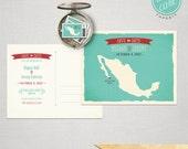 Destination wedding invitation Mexico Los Cabos Cabo San Lucas Save the Date Postcard  save the date postcard Mexican map aqua teal seafoam