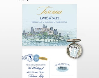 Destination wedding Florence Tuscany Italy Europe Save the date Postcard with illustration sketch drawing watercolor Deposit Payment