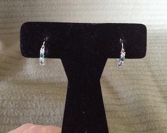 Vintage 925 Sterling Silver CZ and Green Gemstone Earrings, 1/2'' Diameter