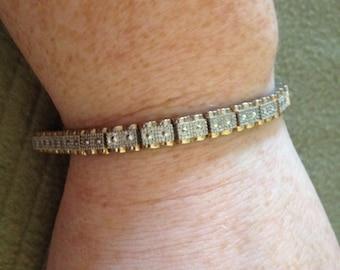 Vintage Silvertone Bracelet, Length 7.5''