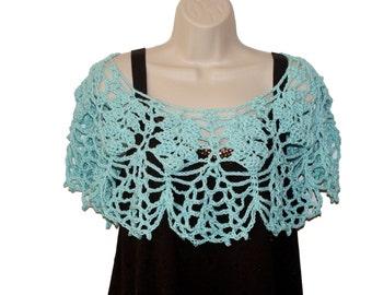 Crochet Capelet, Bridal Capelet, Aqua poncho, Bridal Shawl, Cotton Shawl, Womens Shawl, Crochet Shawl, Womens Shawlette, Bride Poncho
