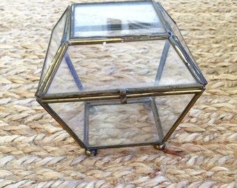 Vintage Brass and Glass Box- Display Box