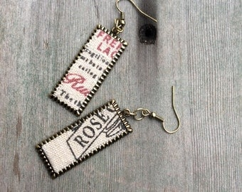 Burlap Earrings/Recycled Jewelry/Modern/Trendy Earrings